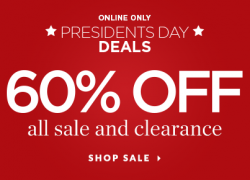 60% off All Sale and Clearance.
