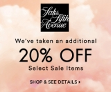 We've taken an additional 20% OFF* Select Sale Items.